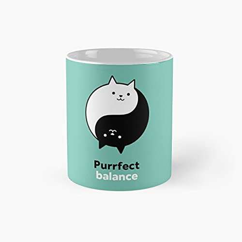 Purrfect Balance Classic Mug - Ceramic Coffee White (11 Ounce) Tea Cup Gifts For Bestie, Mom And Dad, Lover, Lgbt