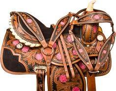 Deen, Enterprises Aparejos de cuero de primera calidad para caballos, caballos, cabeza de cuero a juego, cuello de pecho, riendas, tamaño de asiento de 35,5 a 45,7 cm (asiento de 45,7 cm)