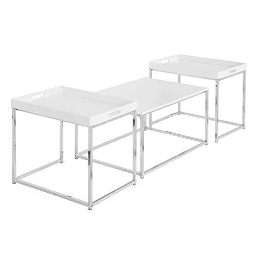Invicta Interior Modernes Design Couchtisch 3er Set Elements 75cm weiß Chrom Beistelltisch Satztische Wohnzimmertisch