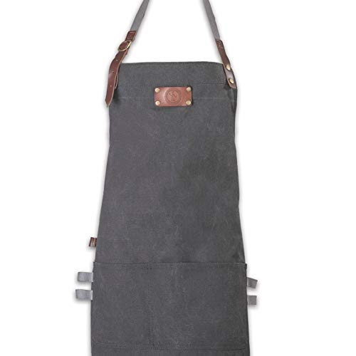 Ess-Nische® Kochschürze Grillschürze für Männer und Frauen - Küchenschürze für Herren - Ideal als Geschenk für Männer, Oma oder Opa - schwarzes Denim Schürze Damen extra lang