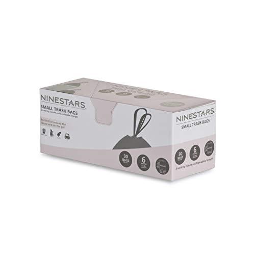 NINESTARS NSTB-10-30 - Bolsa de Basura extrafuerte con Cierre de cordón, Paquete de 1, Blanco, 6 Gallons / 20 L, 1