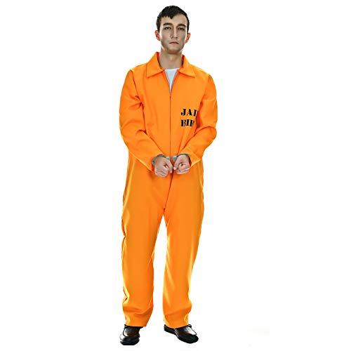 PGOND Men Inmate Costume Adult Orange Jumpsuit