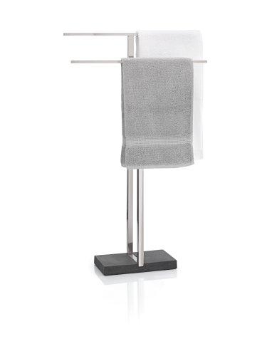 blomus -MENOTO- Handtuchständer aus mattiertem Edelstahl, freistehend mit 2 Handtuchstangen, exklusive Optik, modernes Badaccessoire, einfache Montage (H / B / T: 86 x 50 x 16 cm, Silber, 68624)