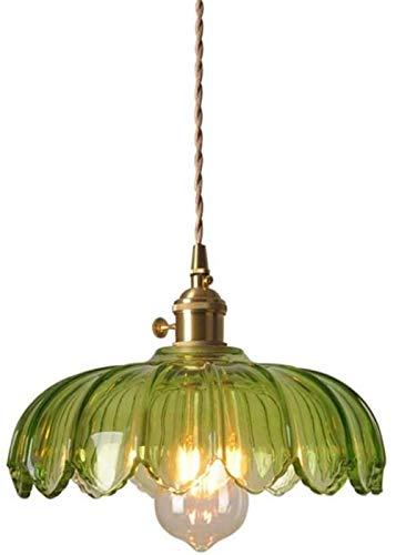 Nostálgico Restaurante Lámpara de jardín Lámpara colgante industrial de la vendimia Montaje de luz Cobre puro Vidrio verde Lámpara de estilo retro E27 Iluminación de techo colgante Acabado de latón
