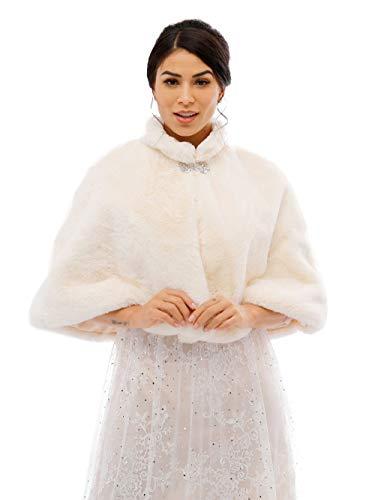 Aukmla - Chal - para mujer Chal Estola de Pelo Mujer para Invierno Fiesta Novia Bodas con broche para dama de honor (Marfil)