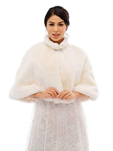 Aukmla Frauen Braut Hochzeit Kunstpelz Schal Wrap Braut Pelz Schal Stola Fur Wraps und Tücher für Frauen