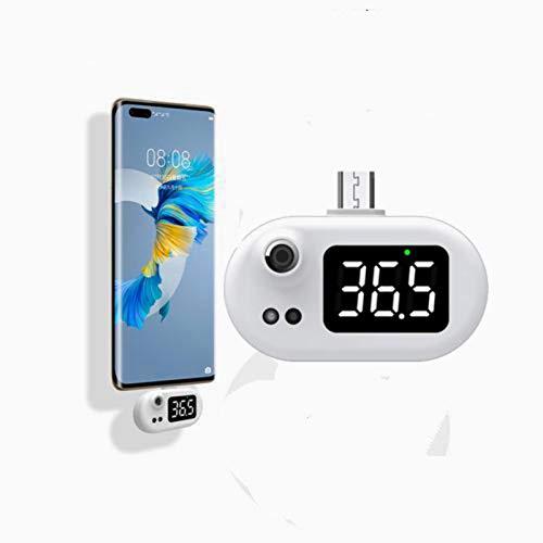 coil-c Termómetro USB para teléfono móvil, mini termómetro para teléfono móvil ˚C/˚F, ajustable, sin contacto, preciso, termómetro digital infrarrojo compatible con Android, tipo C