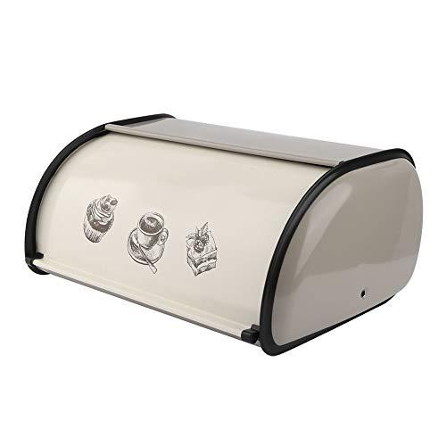 Rehomy Vintage Rollup - Caja de almacenamiento para pan de metal de gran capacidad, color gris