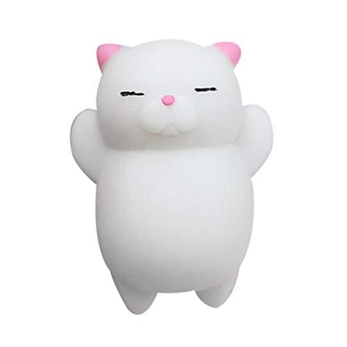 Tree-de-Life Schöne Cartoon Katze Squishy Spielzeug Stressabbau Weiche Mini Animal Squeeze Spielzeug Dekompression Heilspielzeug Tolles Geschenk weiß & pink
