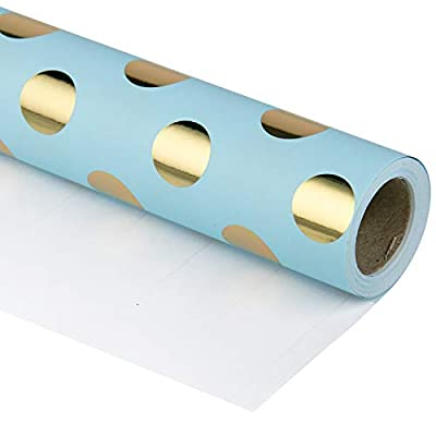 RUSPEPA Gift Wrapping Paper Roll-Gold Foil Dots Baby Blue Background Design for Wedding, Birthday, Shower, Congrats, and Holiday Gifts - 30 Inch X 32.8 Feet