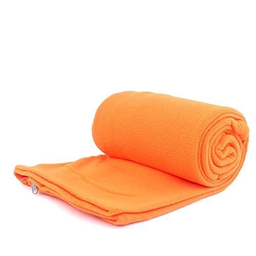 Cojj Outdoor Microfiber Fleece Sleep Seat Bag Liner Camping Trip Condizionatore d'Aria Strada a Pelo Sporco Separato dalla Coperta del Ginocchio Durante la Rottura del Pranzo addensata (Arancione)