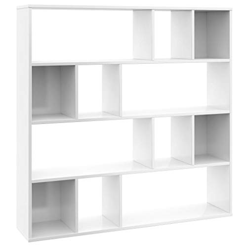 vidaXL Raumteiler Bücherregal 12 Fächer Wandregal Standregal Aktenregal Raumtrenner Büroregal Bücherschrank Hochglanz-Weiß 110x24x110cm Spanplatte
