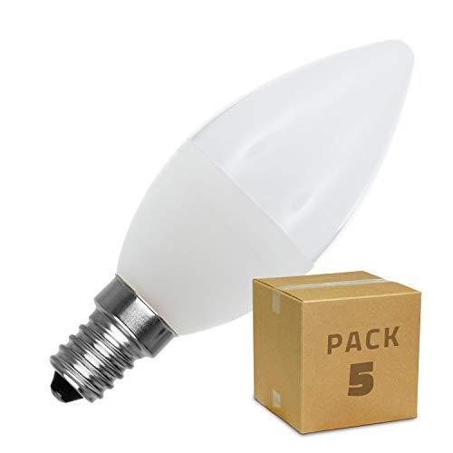 LEDKIA LIGHTING Pack Bombillas LED E14 Casquillo Fino C37 5W (5 un) Blanco Cálido 2800K - 3200K