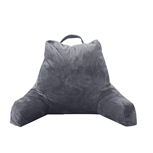 FASO Reading Pillow with Arms for Sitting in Bed,Adult Back Support for Bed with arms,Backrest Lounge Cushion with Pockets for Reading/Watching TV-18inch(Gray)