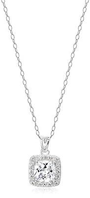 Amazon Essentials Sterling Silver Cubic Zirconia Princess Halo Pendant Necklace