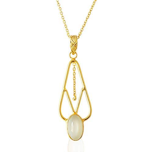 Bhagat Jewels Unique Design Handmade 18K Gold Plated White Moonstone Statement Pendant