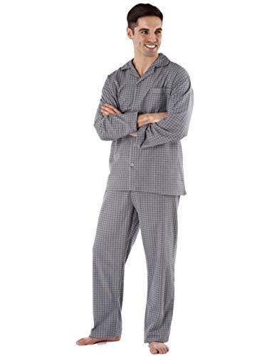 Mens gebürsteter Baumwolle Diamond Spot gemütlich im Winter Schlafanzug (XXL -Grau)
