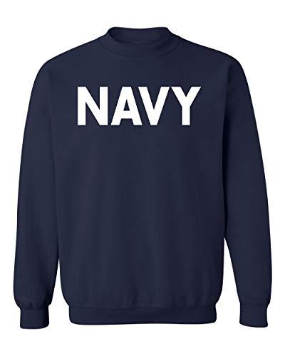 Military Gear Navy Training PT Crewneck Sweatshirt, S, Navy (White)
