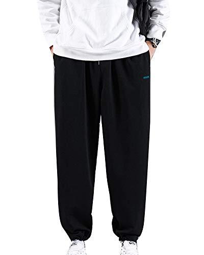 Hombres Cintura elástica Cómodos Pantalones chándal de Correr con cordón Jogging Pantalones de Punto de Pierna Ancha Pantalones Deportivos Casuales para Exteriores con Bolsillos Negro XXXL