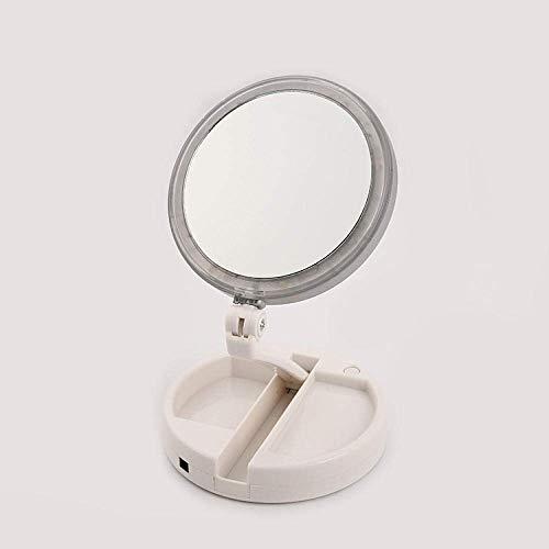 Miroir De Maquillage LED De Bureau 10X Double Face Loupe Peut Être Plié Facile À Transporter l'angle du Miroir Peut Être Ajustée Librement