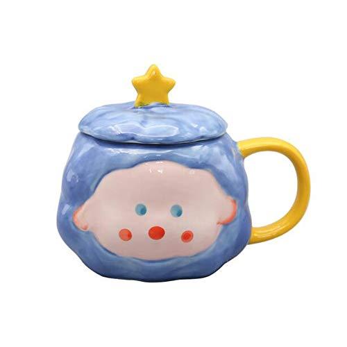 LIUTIAN Pintado a Mano de la Taza, Taza de Jugo, de cerámica con Tapa y Cuchara, Regalo de cumpleaños, 15x12cm, 380 ml (Color : Blue)