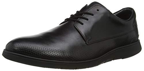 Clarks Helston Walk 261487807, Derbys Homme, Noir (Black Leather Black Leather), 42 EU