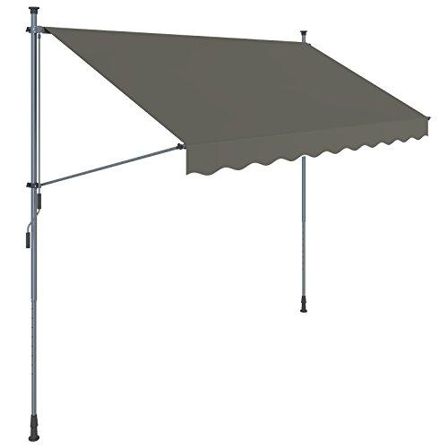 SONGMICS Klemmmarkise, 200 x 130 cm, einrollbare Balkonmarkise, Sonnenschutz, Markise mit Gestell, verstellbare Höhe 2-3 m, grau GSA203G