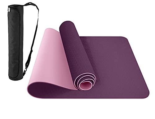 ComFyMat Yoga Mat – Non-Slip Premium TPE Yoga Mat [Bonus Waterproof Carry Bag] – Eco-Friendly...