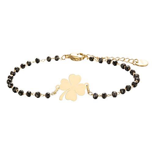 Bracciale con ciondolo a quadrifoglio portafortuna, in acciaio inox, con perline nere, semplice braccialetto portafortuna e Acciaio inossidabile, colore: Oro, cod. PJ-S212-BS84-GD