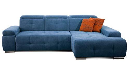 CAVADORE Schlafsofa Mistrel mit Longchair XL rechts / Große Eck-Couch im modernen Design / Mit Bettfunktion / Inkl. verstellbare Kopfteile / Wellenunterfederung / 273 x 77 x 173 / Kati Mittelblau