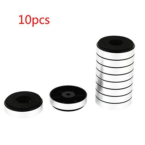 Wuyee 10PCS Silver Round Pad Amplificador de Audio Pies Soporte Soportes para Altavoces, Subwoofer Alfombrillas a Prueba de Golpes (30 mm x 8.5 mm)