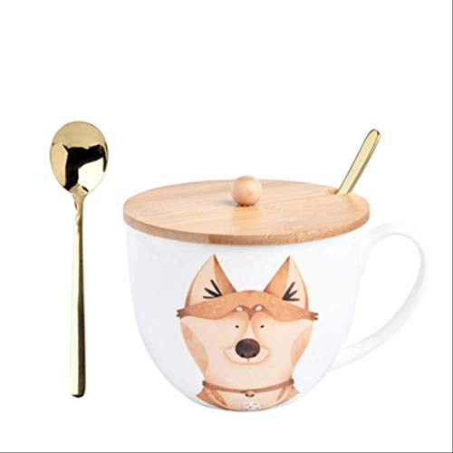 GJDBBLY Tazza Ceramic Cup Animal Cover And Spoon Special Slotted Cup Breakfast Bowl Cup Home Office 10,13,5 cm' Come Mostrato