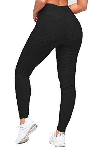 Geahod Leggings pour Femme Sport Taille Haute Pantalon Sudation Yoga Coton Taille Haute Pants Bodybuilding Noir XL