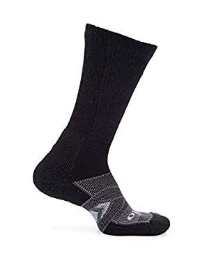 Thorlos Unisex Adult's 12 Hour Shift Thick Padded Crew Work Socks, Black/Grey Large