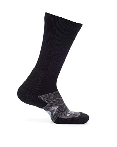 Thorlos Unisex Adult's 12 Hour Shift Thick Padded Crew Work Socks, Black/Grey, Medium