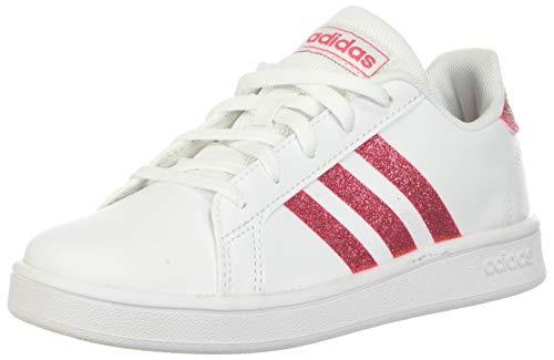 adidas Kids' Grand Court K Sneaker, White/Real Pink/White, 3.5 M US