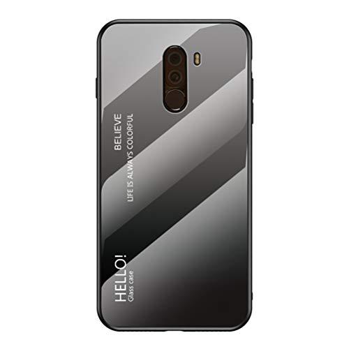 LUSHENG Funda para Xiaomi Pocophone F1, Carcasa Trasera de Vidrio Templado Degradado, Funda de TPU Suave para Teléfono, para Xiaomi Pocophone F1 (6.18') - Gris+Negro
