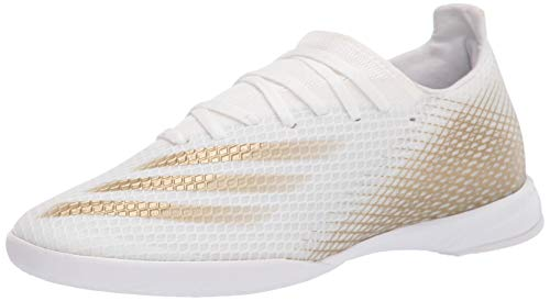 adidas Men's X Ghosted.3 Indoor Soccer Shoe, White/Gold Melange/White, 8