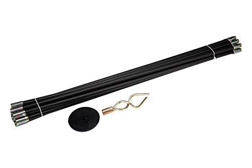 KENDO Rohrreinigungsstangen-Set 12-teilig – 10x Stangen à 920 mm – Gummisaugteller- und Doppelschnecken-Aufsatz – Abflussreinigungsset