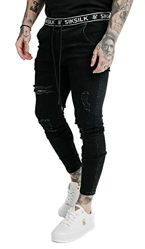 Sik Silk Jeans Herren Elasticated Waist Skinny Distressed Denim SS-15904 Black, Größe:XL
