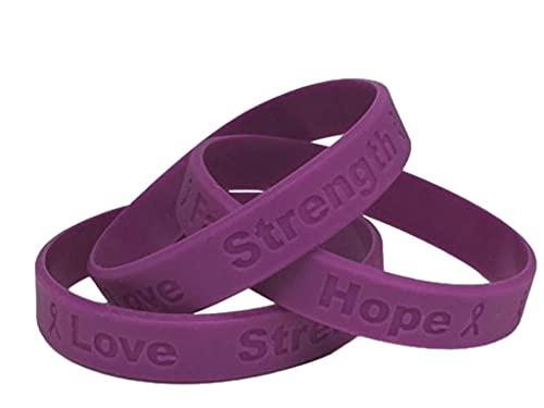 10 Purple Ribbon Awareness Bracelets 100% Medical Grade Silicone - Latex and Toxin Free (10 Bracelets) Support Crohn's Disease, Cystic Fibrosis, Domestic Violence, Epilepsy, Fibromyalgia, Lupus, Pancreatic Awareness
