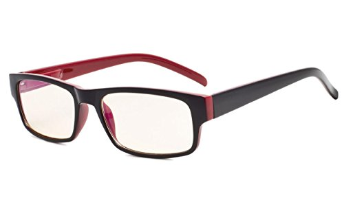 Eyekepper UV protección gafas de lectura con ámbar tintada lente (Negro/Rojo, 0.75) ✅