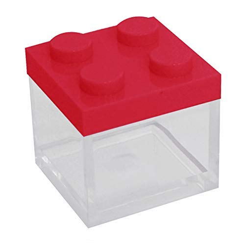 Omada Design Scatolina Portaconfetti in Plexiglass, 24 pezzi, tipo mattoncino formato 5 x 5 x 5 cm, Bomboniere trasparenti, idea regalo per cerimonie, Coperchio Rosso