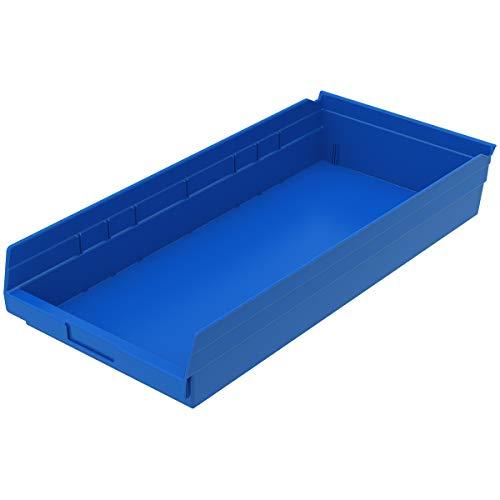 Akro-Mils 30174 Plastic Nesting Shelf Bin Box 24-Inch x 11-Inch x 4-Inch Blue 6-Pack