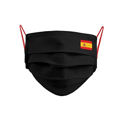 Cencibel Smart Casual Mascarilla Bandera España Pequeña Fondo Negro