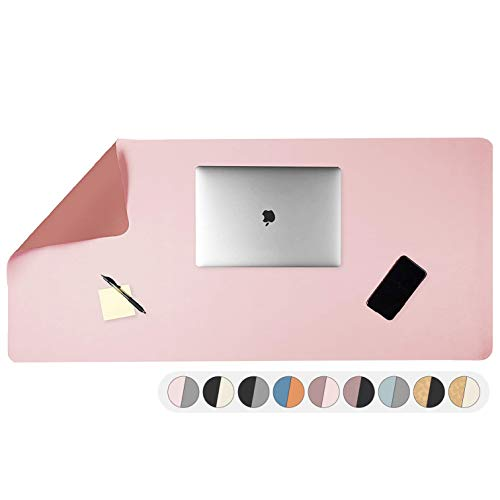 """Office Desk Pad, Dual Sided Blush & Mauve Desk Mat - 47 x 23"""" Inch Leather Style Full Desk Mouse Pad, Easy Clean Non Slip Computer Desk Mat for Home or Office (47 x 23"""" Inch, Blush/Mauve)"""