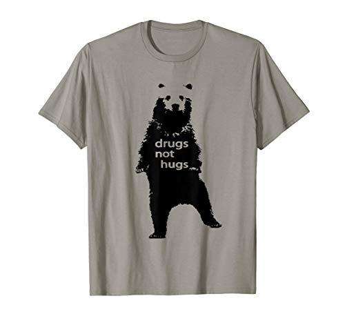 Black Shirt Shop Bear DRUGS NOT HUGS Tee