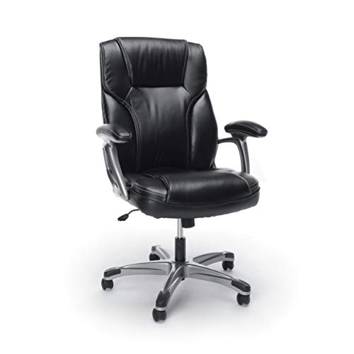 Essentials High-Back Leather Executive Office/Computer Chair with Arms - Ergonomic Swivel Chair...