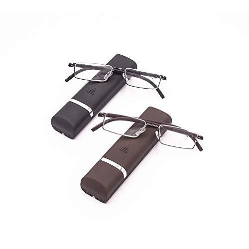 Lesebrille 2 stueck mit Ultraleichtem TR90 Rahmen Lesehilfe Halbbrille aus Metallrahmen mit Halbrahmen Sehehilfe mit Brillenetui für Damen und Herren +2.5