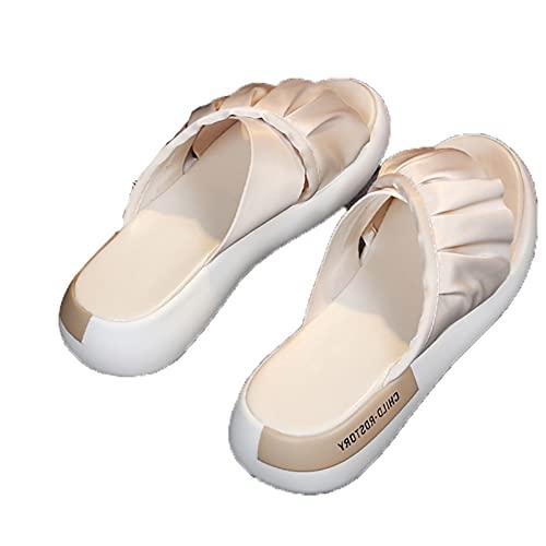 Zapatillas de mula para mujer, sandalias de playa sin espalda planas sin espalda planas para exteriores e interiores con punta abierta de seda de Color sólido bohemio